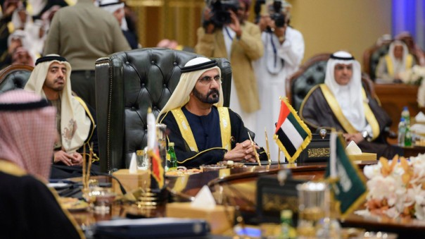 United Arab Emirates Vice President Prime Minister and Ruler of Dubai Sheikh bin Rashid Al Maktoum attends the 34th GCC meeting hosted by Kuwait in Bayan Palace