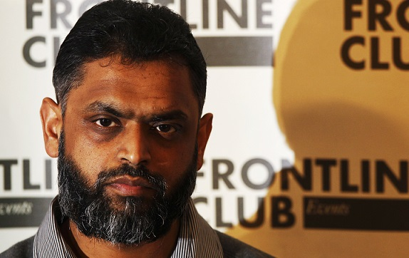 Former Guantanamo detainee Moazzam Begg attends a news conference at the Frontline Club in London