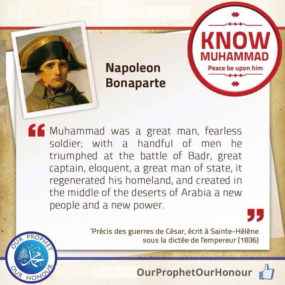 Napoleon bonaparte about prophet muhammad peace be upon him pass