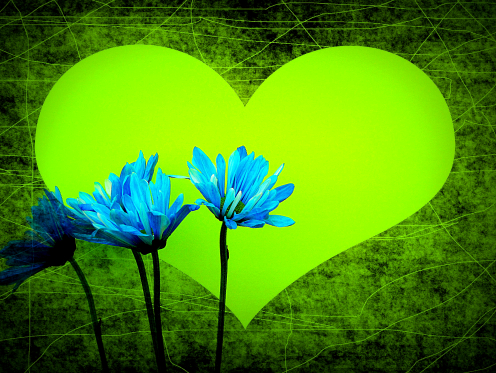 green-heart-blue-flower