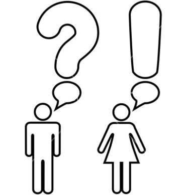 A symbol man and woman couple ask a question with a question mark and answer an exclamation mark in copyspace speech  bubbles.